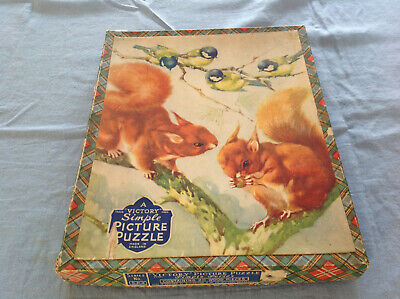 Vintage Victory Wood Simple Picture Puzzle - Squirrels And Birds Complete • 6.99£