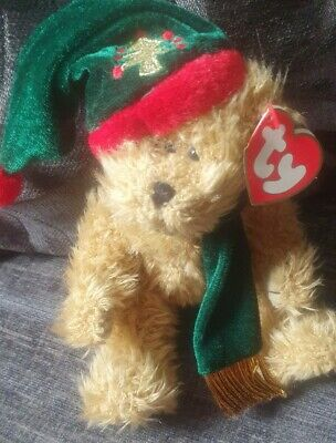 Ty Beanies - Attic Treasures Spruce Christmas Bear With Tag - Retired • 4£