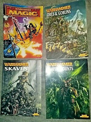 Warhammer 4 Army Books - Vampire Counts, Orcs And Goblins, Skaven And Magic • 4.99£
