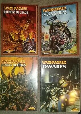 Warhammer 4 Army Books - Dwarfs, Orcs & Goblins, Hordes And Daemons Of Chaos • 9.50£