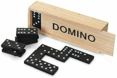 28Pc Traditional Dominoes Set Wooden Box Toy Classic Game Kids Black/White Dots • 3.49£