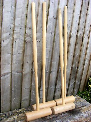 4 Vintage Classic Croquet Mallets ~ Lightwood Ash? ~ Adult Size Chamfered Handle • 90£