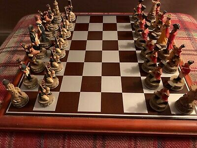 Napoleon And Wellington Full Chess Set And Wooden Board • 57£