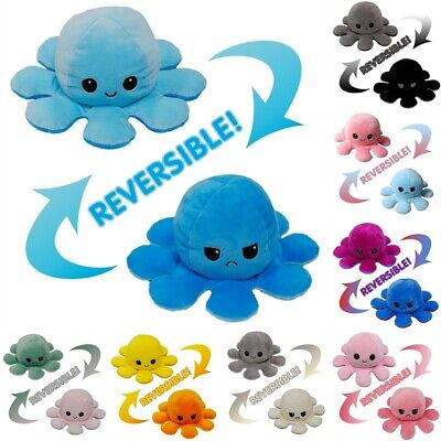 Funny Double-Sided Flip Reversible Octopus Cute Plush Toys Animals Doll Gift UK • 4.99£