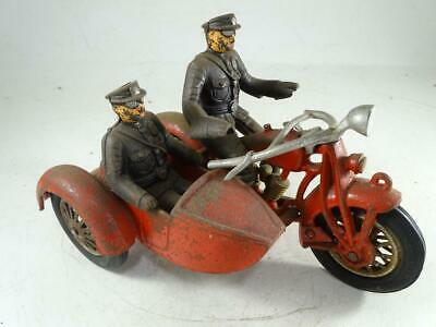 Antique Indian Motorcycle Cast Iron Police Toy Model Side Car Hubley 8.5  Long • 80.86£