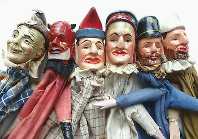 Six Antique Carved Wood Punch & Judy Stick Puppets / Hand Painted Figures • 175£