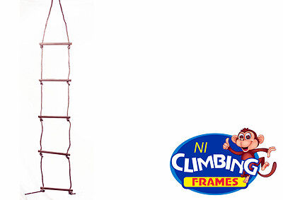 5 RUNG QUALITY WOODEN CLIMBING ROPE LADDER Swing Set  • 14.99£