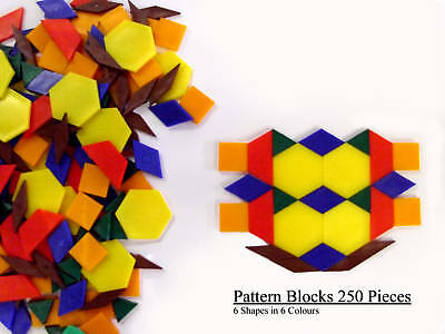 Pattern Blocks - 250 Pieces Teaching / Learning / School (6 Shapes & 6 Colours)  • 19.99£