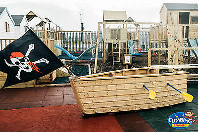 MINI PIRATE SHIP BOAT - Wooden Playgroup Creche Playground Outdoor School  • 499£