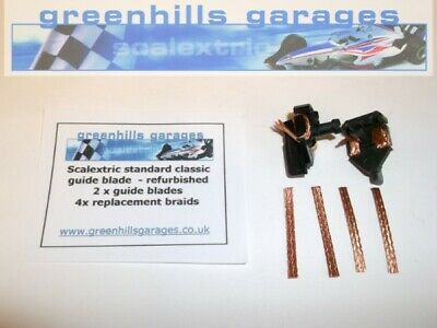 Greenhills Scalextric 2x Standard Push In Guide Blades & 4 X Spare Braids G1348 • 3.99£
