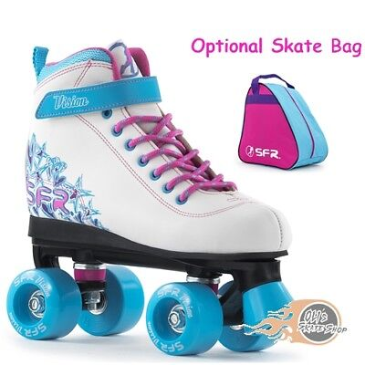 SFR Vision II Quad Roller Skates Girls White/Blue - Optional Skate Bag • 37.95£