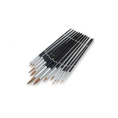 New 12 Pc Artists Paint Brush Set Fine Hobbies Crafts Model Making Brushes Art • 2.87£