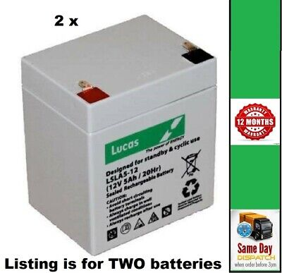 2 X LUCAS 12V 5AH Razor CRAZY CART - UP-RATED Replacement Rechargeable Batteries • 26.95£