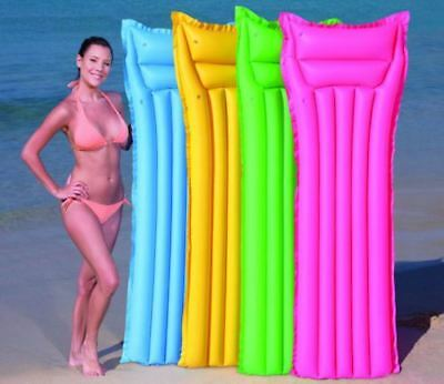 Inflatable Lilo Air Mat Bed Lounger Swimming Pool Float Beach Summer Holiday • 6.85£