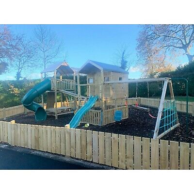 HARES GAP Climbing Frame, 6 X 6 Ft Playhouse, Monkey Bars, Enclosed Tube Slide • 2,965£