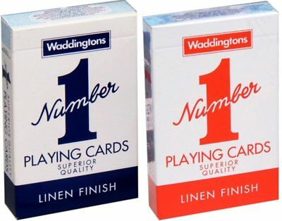New Waddingtons No.1 Classic Playing Cards Twin Pack Red & Blue Poker Game • 2.99£