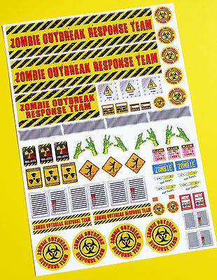 RC ZOMBIE OUTBREAK RESPONSE TEAM Stickers Decals Ideal For Tamiya Lunch Box! • 9.95£