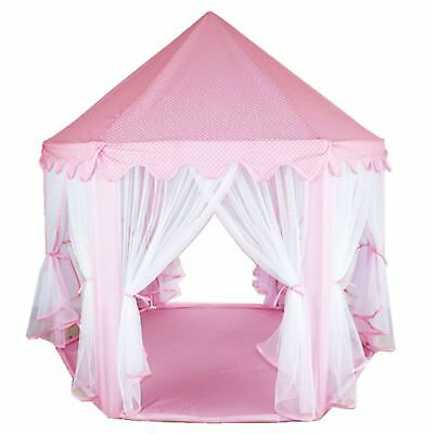Children Kids Play Tent Fairy Princess Girls Boys Hexagon Playhouse House Pink • 16.89£