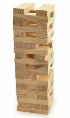 54 Pcs Jenga Wooden Tumbling Tower Stacking Indoor Outdoor Garden Family Games • 7.95£