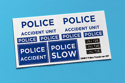 DINKY 'TRANSIT POLICE ACCIDENT UNIT' 287 Sticker Decal Reproductions 43rd Scale • 4.95£