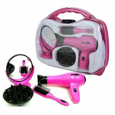 Childrens Toy Hair Dryer Stylist Hairdresser Role Play Set Hard Carry Case TY124 • 8.55£
