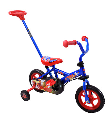 Space Ranger 10  Wheel Kids Steering Boys Blue/Red Training Bike & Parent Handle • 59.99£