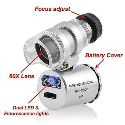 60x Pocket Microscope – Magnifying Glass Jeweller Loupe Magnifier - LED UV Light • 4.99£