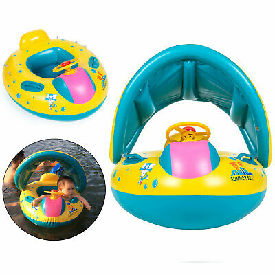 Baby Swimming Float Boat Pool Floats With Sunshade Canopy For Kids Inflatable • 7.99£