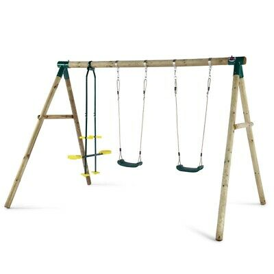 Plum Colobus Wooden Garden Swing Set, 2 Seat Glider & Double Swings • 219.95£
