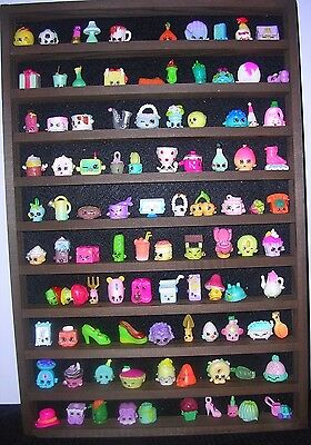 Shopkins Wall Display Rack-100 Mini Figures-children-kids In Dark Oak • 18.50£