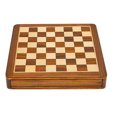 Square Wooden Chess And Magnetic Pieces Set With Storage Drawer 12x12 Inch • 74.99£