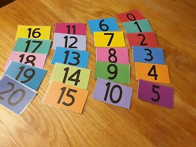 Numbers Flash Cards 0-20 Kids Toddlers Preschool Early Learning Resource Sen • 3.50£