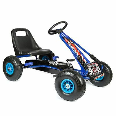 Childrens Kids Blue Pedal Go Kart Cart With Inflatable Wheels And Hand Brake • 67.99£