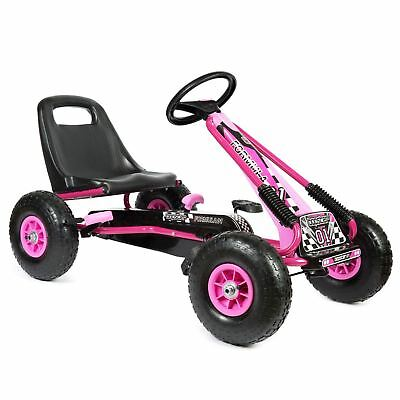 Childrens Kids Pedal Go-Kart 5-8yrs Inflatable Tyres Racing Car Ride-On Pink • 67.99£