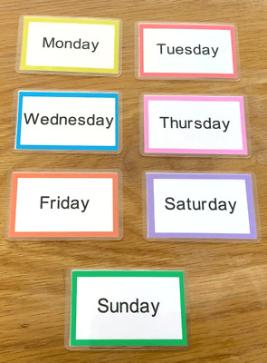 Days Of The Week Flash Cards Kids Toddlers Preschool Early Learning Resource Sen • 2.60£