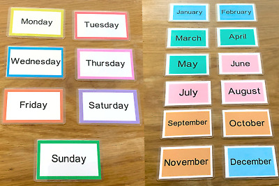 Days Of The Week & Months Of The Year Flash Cards Early Learning Resource Sen • 3.99£