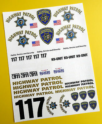 RC 24th SCALE CALIFORNIA HIGHWAY PATROL 'CHiPs' Police  Decals Stickers • 7.95£