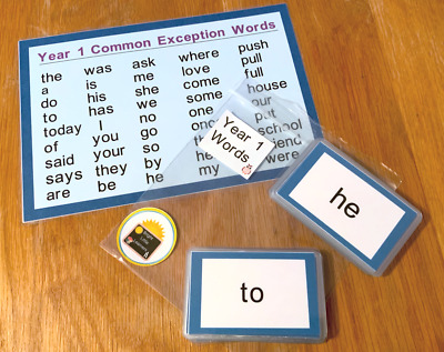 45 Year 1 Common Exception Words Flash Cards Word Mat KS1 Learning Resource • 5.99£