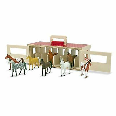 Take Along Show Horse Wooden Stable Write On Name Tag 8 Toy Ponies Play Set New • 20.50£