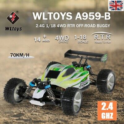 WLtoys A959-B 2.4G 1/18 4WD 70KM/H High Speed Electric RTR Auto Off-Road Car • 53.39£