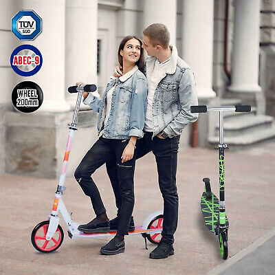 Adult Scooter Kick Push Scooter Large 200mm Wheel Folding Adjustable For 14+ Age • 48.99£