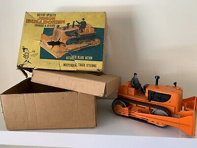 RARE 1960's MARX GIANT BULLDOZER LOADER W/DRIVER IN ORIG BOX BATTERY POWERED • 100£