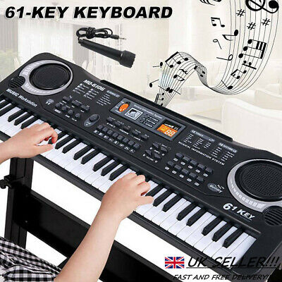 61 Keys Digital Music Electronic Keyboard Electric Piano Toy Gift W/ Microphone • 12.19£