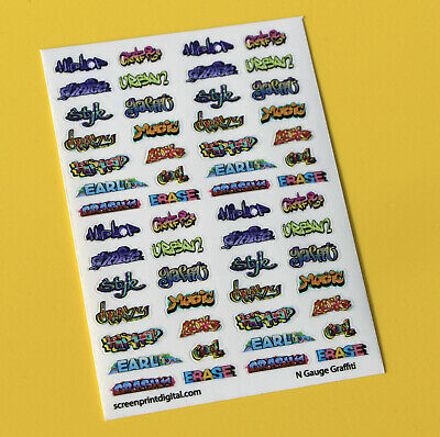 Model Railway GRAFFITI Stickers Decals N Gauge Ideal For Coaches, Buildings • 5.95£