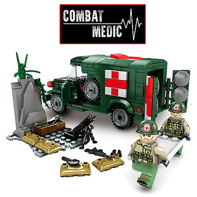 WW2 Military Ambulance Army Truck Medic Soldiers Medical War Vehicle Fit Lego  • 19.99£