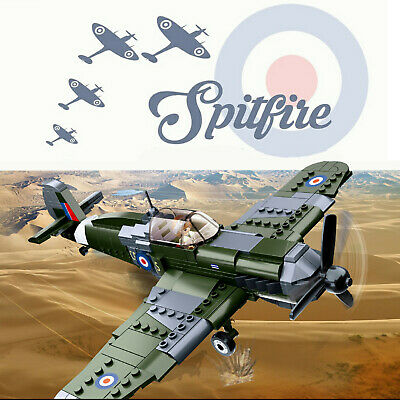WWII Spitfire Plane + RAF Pilot Army Soldier Minifigures Military Model Fit Lego • 22.99£