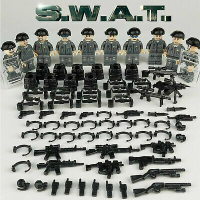 10pcs SWAT POLICE Minifigure Set + Accessories Army Military Fits Lego UK Seller • 8.99£