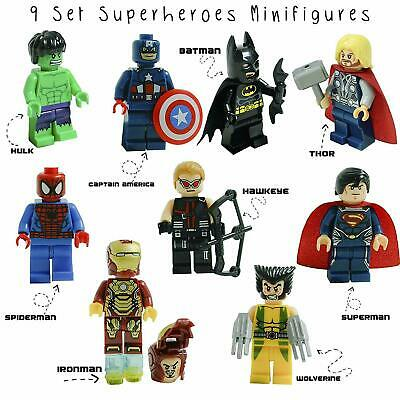 9 Pcs Marvel Avenger Super Heroes Fit Lego Mini Figure Thor Hulk Batman Superman • 7.29£