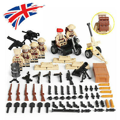 WWII British Army Soldier Mini Figures Military War Set WW2 UK Weapons Fit Lego • 6.99£