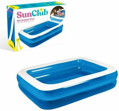 FAMILY Fun Paddling POOL Rectangle Kids Adults -garden Outdoor Inflatable Fun NW • 28.99£